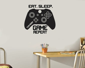 Eat Sleep Game Repeat Controllers Wall Decal tall design | Kids Room Wall Vinyl Decor | Wall Graphics PS4 XBox