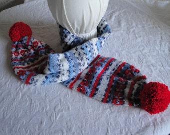 child's scarf, pompom neckwarmer, red white blue scarf, fairisle muffler, fun pompom scarf, vegan accessory knit, striped neckwarmer, scarf