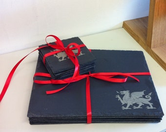 Slate Placemat and Coaster Set with Welsh Dragon Motif