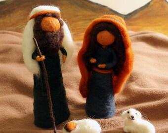 Needle felted nativity set - waldorf nativity/ christmas nativity