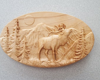 Elk Sign, Wooden Elk Sign, Wood Elk Sign, Wooden Elk Hanging, 3D Wooden Elk, Wooden Elk, Wood Elk, Elk Cabin Sign, Wood Cabin Sign, Elk Sign