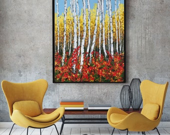 Aspen Painting, Palette knife Birch Tree, Acrylic Impasto, Abstract Landscape, Colorado Forest Painting, Contemporary, Modern wall art.