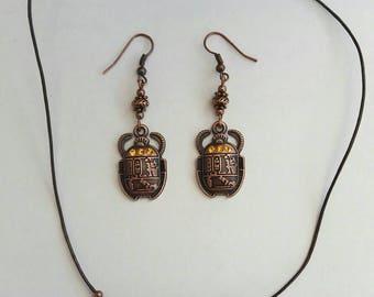 Egyptian God Khepri Antique copper Scarab Beetle with Rhinestones charm leather cord necklace & earrings jewellery set. Egyptian jewellery
