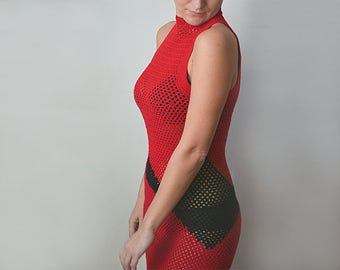 Red crochet dress stretch dress lace summer dress red and black dresses elastic dress color block geometric dress mini knitted dresses