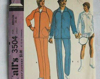 Vintage sportwear pattern, McCall's 3504, Mens' Jog Suit for unbonded stretchable knits, size 38 to 40 inch chest, 1973
