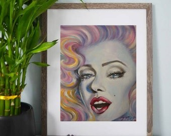 Glamorous Marilyn Monroe - Prints, Art Prints, Painting, Wall Art, Home Decor, Vintage, Colorful Artwork, Makeup, Glam Room Decor, Vanity