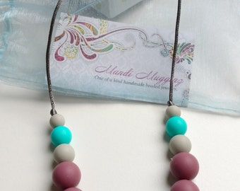 FREE SHIPPING, Teething Necklace, gift for mom, baby, chew beads,