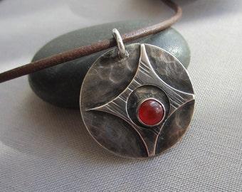 Oxidized Silver Pendant/ Carenelian Necklace/ Leather choker with Silver Pendant/ Texturized Silver Necklace/ Carnelian Pendant/  Choker