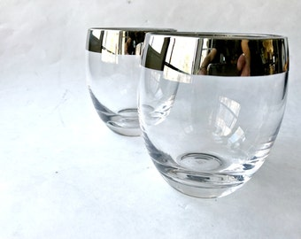 Pair of Silver Rimmed Roly Poly Glasses.  Dorothy Thorpe Style Lowballs.