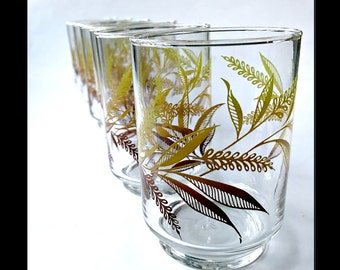 Set of Six Libbey Juice Glasses with Wheat Pattern. Mid Century Glass Tumblers.