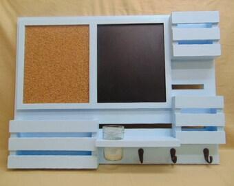Chalk Board - Cork Board - Magazine Holder - Message Center - Key Hooks - Jar Holder