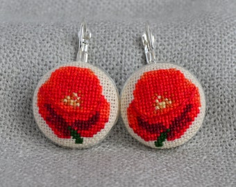Gift for her Red poppy earrings Cross stitch jewelry Embroidered earrings Red jewelry Hand embroidered gift Floral earrings Poppy jewelry