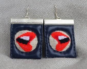 Lips earrings Handmade earrings Fabric earrings Red earrings Lips jewelry Gift for her Red lips jewelry Fabric jewelry Navy fabric