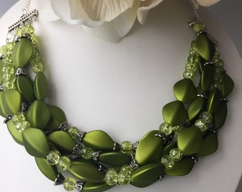 Spring Green Necklace | Multi Strand Necklace | Layered Necklace | Statement Necklace | Color of the Year Necklace | Green Necklace | Gift