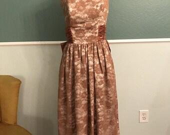 1950s 1960s Strapleless Bronze Lace Dress M