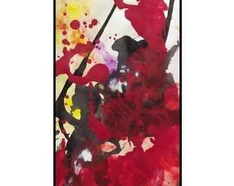 Abstract Painting original modern art expressionist acrylic red yellow black and white home decor Struggle by Caerys Walsh