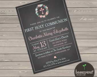 First Holy Communion Invitation - Chalkboard First Holy Communion Invitation - Girl 1st Communion Invitation - First Communion Invitation