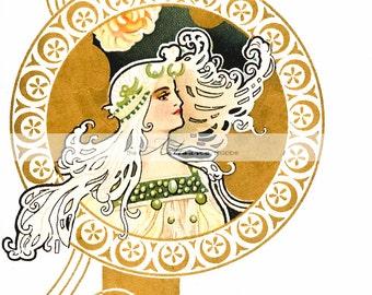 Instant Download Printable Art - Art Nouveau Gold Yellow Floral Woman Vintage Antique Art Image - Paper Crafts Altered Art Scrapbooking