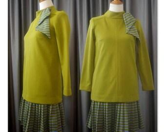 Authentic Helft's Boutique 1970's Drop Waist Dress Poly Mod Avocado Green S M VTG