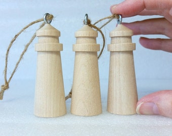 "lighthouse wooden ornament, unfinished, DIY, Christmas Ornament, Nautical, Coastal Decoration, 3"" tall, set of 3"