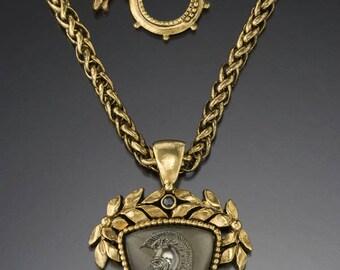 Vintage Black Diamond Roman Head Intaglio Pendant
