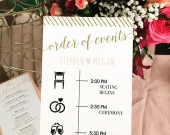 Digital Wedding Program, Weddings, Gold and Pink, Wedding Program