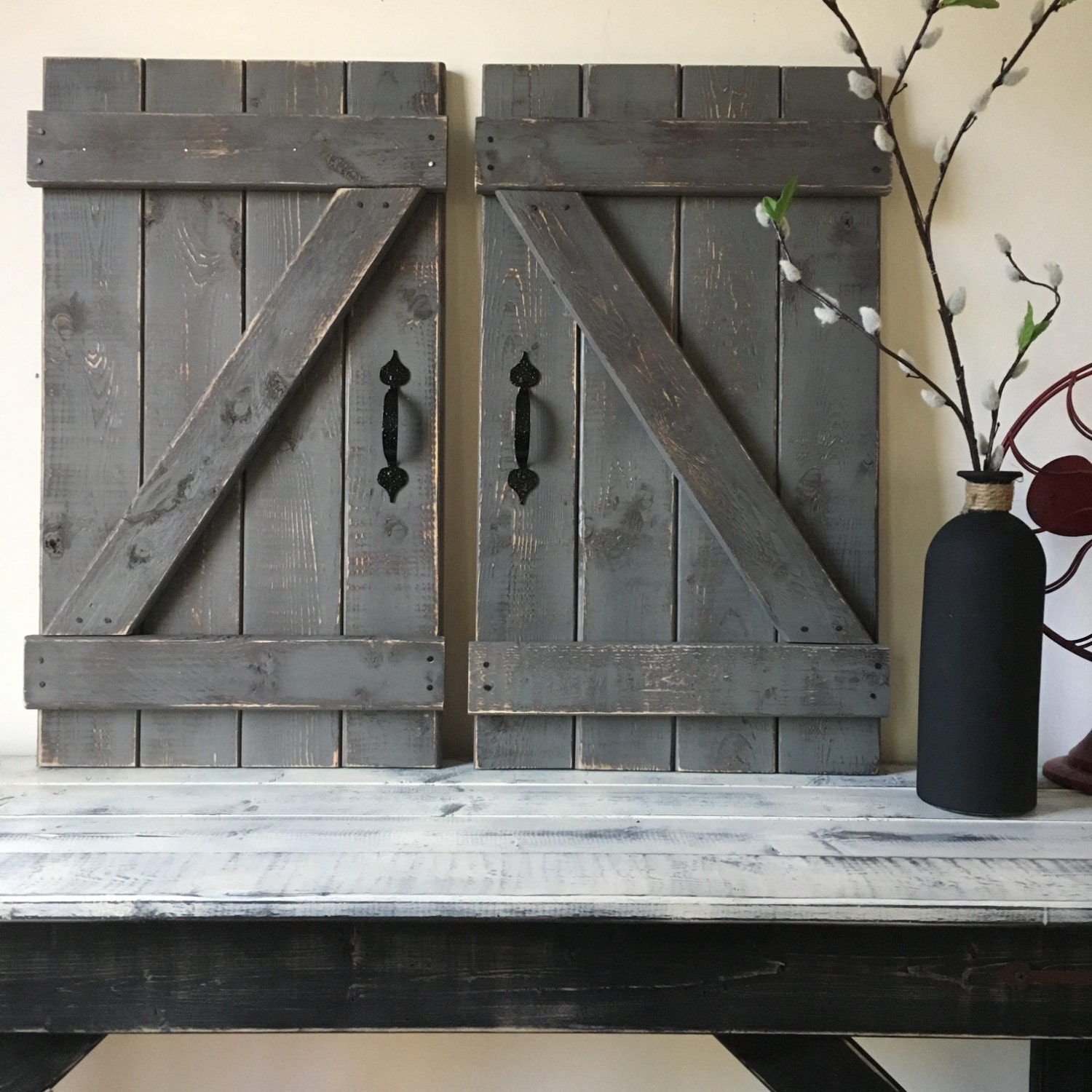 2 rustic barn doors 24 x 14 each rustic gallery zoom amipublicfo Choice Image