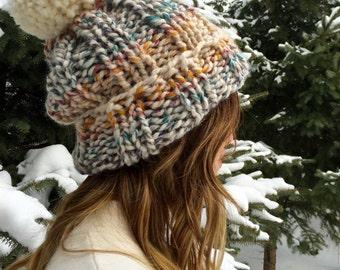 Super Slouchy Pom Pom Beanie   Knit Winter Hat