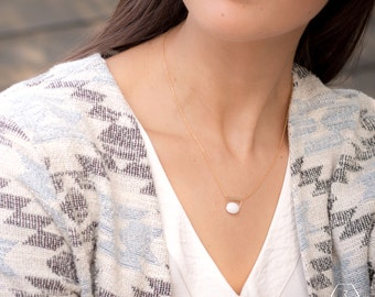Gold Filled Necklace CROATIA natural light white Jade gemstone dainty gold filled chain