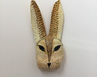 Paper mache animal head / Rabbit / Hare / Bunny / Folk art
