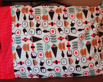 Sushi Flannel Standard Size Pillowcase