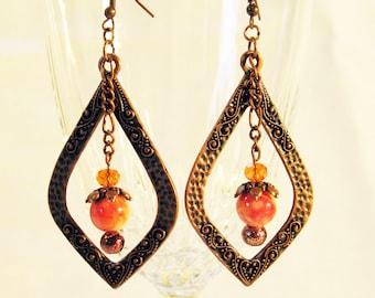 Copper and orange teardrop earrings