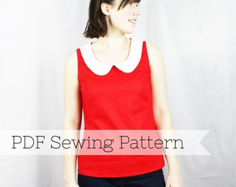 Peter Pan Collar Top PDF Sewing Pattern - for ladies, tank top, easy sewing pattern, womens blouse, vintage inspired