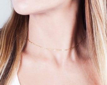Gold Chain Necklace, Choker Necklace, Gold Filled Necklace, Lace Choker, Minimalist Necklace, Everyday Choker, Delicate Collar Necklace