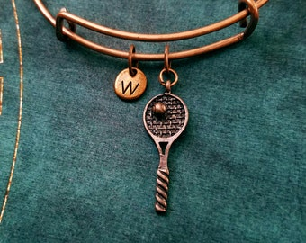 Tennis Racket Bangle Bracelet Copper Tennis Charm Bracelet Tennis Bracelet Stackable Bangle Adjustable Bangle Personalized Bangle Expandable