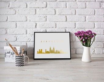 Eindhoven Print, Eindhoven Skyline, Real Gold Foil Print, Eindhoven Cityscape, Gold Skyline Art, Home Decor, Netherlands Skyline,Netherlands