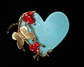 FINAL SALE 50% OFF You Give me Butterflies Gold Branch Red and Aqua Mint Glitter Heart Affirmational Brooch