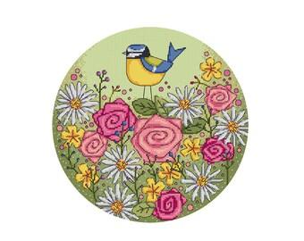 Blue Tit with Flowers - Durene J Cross Stitch Pattern