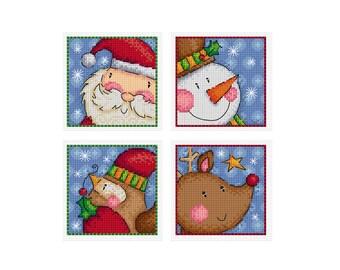 Peeking Character Christmas Cards - Set of 4 - Durene J Cross Stitch Patterns