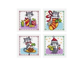 Christmas Cats - Set of 4 - Durene J Cross Stitch Patterns