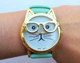 Mint Green Cat Wrist Watch - cat jewelry, kitten watch, womens watches, hipster watch, unique watches, green watch, cute watch, animal watch