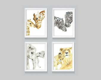 Set of 4 Mother and Baby Animal Prints - watercolor prints, gallery wall art, sets of prints, nursery print sets, nursery decor artwork