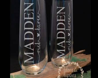 Personalized Etched Wedding Champagne Flutes   Wedding Champagne Glasses Bride and Groom Custom Glasses Custom Wedding Etched Glass
