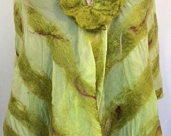 Chartreuse Felted Scarf, Nuno Felted Wrap, Green, Birthday Gift , Beach Wedding, Bridal Accessories, GracefulEweFiberArts: Spring Garden