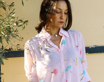 Vintage pink floral button down shirt.size uk 20 eur 46