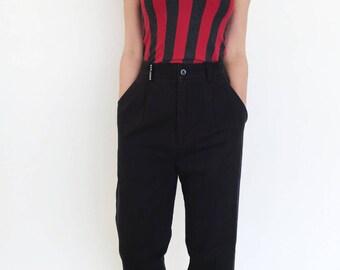 Red grey striped vintage stretch cotton lycra short top.one size
