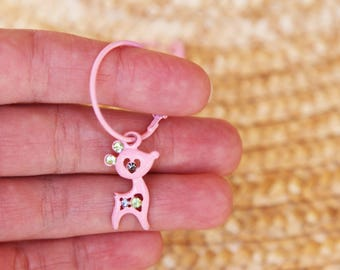 Light pink deers vintage beautiful hoop earrings.
