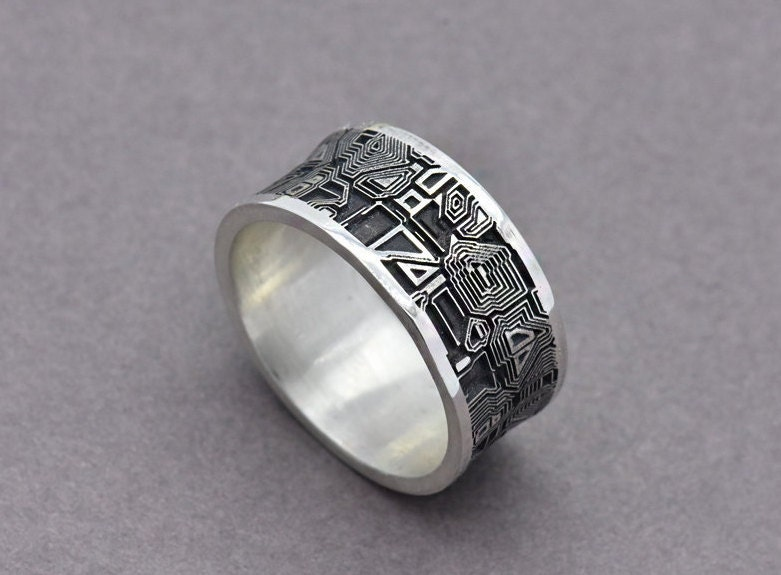 Circuit Board Ring Sterling Silver Men S Wedding Band