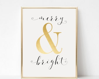 Digital Download Merry & Bright Printable 5x7 and 8x10