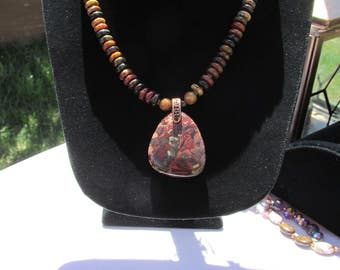 """Beautiful Handmade Agate & Copper Necklace 25 1/2"""""""